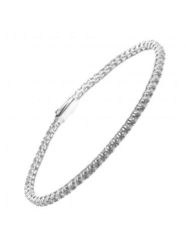 Bracciale tennis in argento strass bianchi - bcc0802