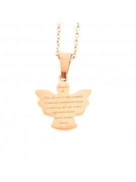 collana con angelo custode in acciaio cll1361
