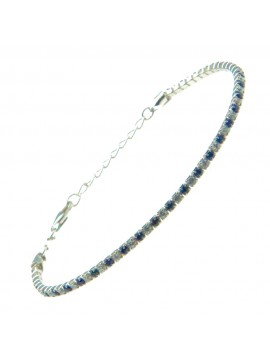 Bracciale tennis argento strass zaffiro e bianchi bcc1035