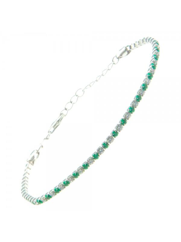 Bracciale tennis argento strass smeraldo e bianchi bcc1036
