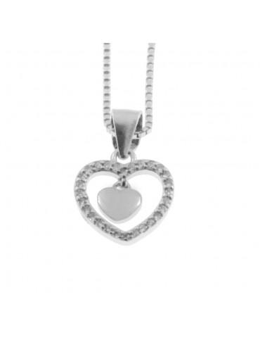 Collana con cuore donna in argento 925 cln0322