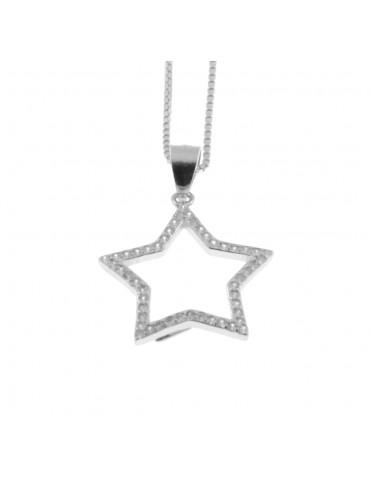 Collana con stella stellina in argento 925 strass bianchi rodiato non scurisce catenina da cm 42 diametro mm 18 cln0328