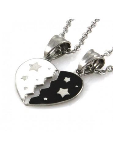 Collana con cuore che si spezza bianco e nero con stelline