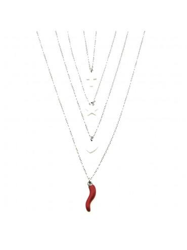 Collana portafortuna con corno rosso croce stella cuore acciaio e smalto degrade cln0134