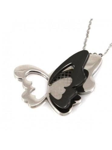 Collana con farfalla in acciaio