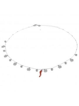 Collana donna con corno rosso e quadrifogli cll0556