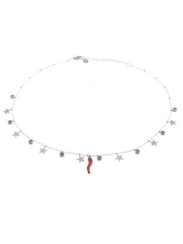 Collana donna con corno rosso e cuoricini cll0592