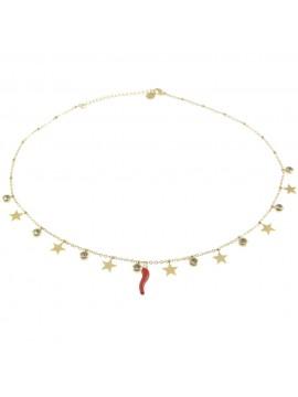 Collana donna con corno rosso e stelline cll0610