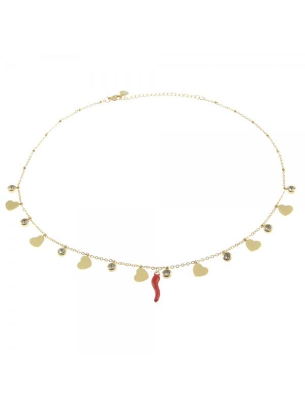 Collana donna con corno rosso e cuoricini cll0613