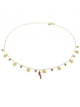 Collana donna con corno rosso e quadrifogli cll0617