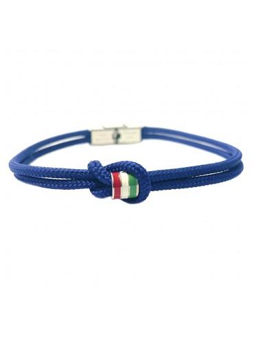 Bracciale italia nazionale italiana uomo acciaio e cotone bcc0055