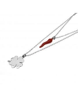 collana donna corno rosso e quadrifoglio cll1260
