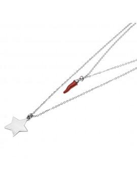 Collana corno rosso e stella donna cll0607
