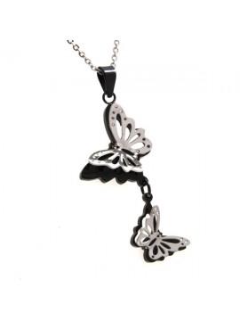 Collana con a due farfalle in acciaio