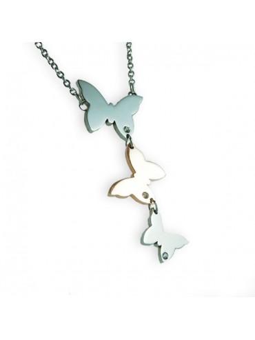 Collana a tre farfalle in acciaio