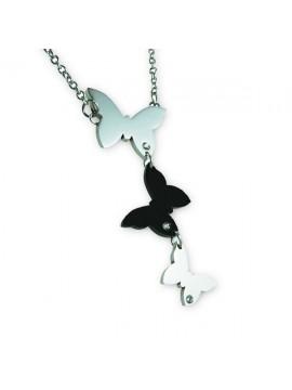 Collana con tre farfalle in acciaio