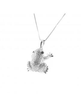 collana rana donna argento e strass cll1871