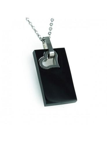 Collana con piastra in acciaio