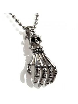 Collana con mano scheletrica in acciaio
