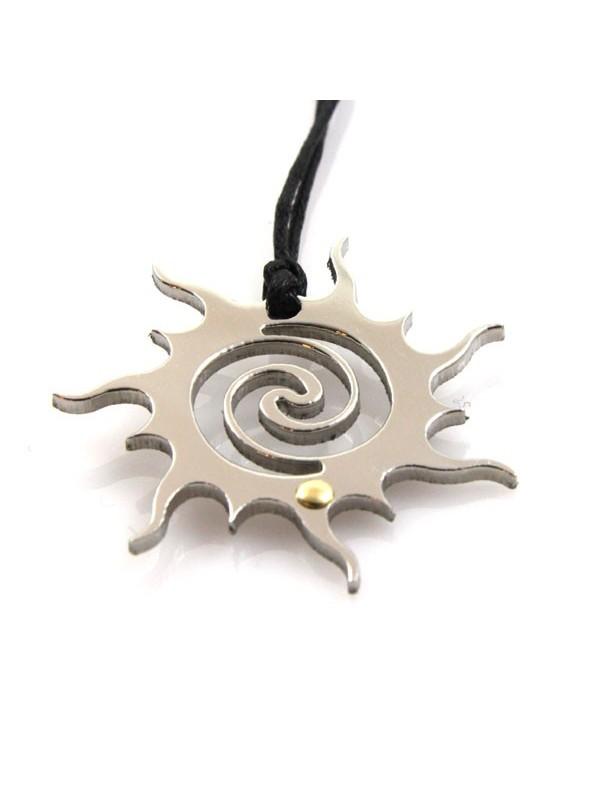 Collana con sole in acciaio