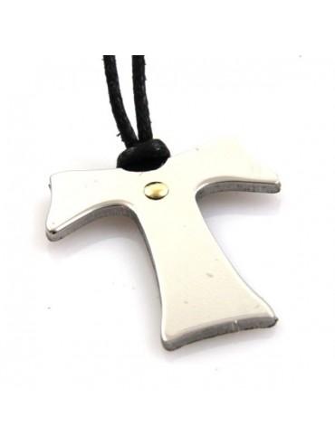 Collana con tau francescano in acciaio
