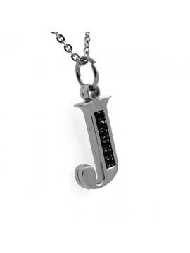 Collana con lettera iniziale J in acciaio