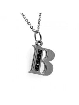 Collana con lettera iniziale b in acciaio