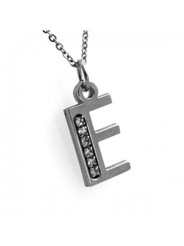 Collana con iniziale lettera e in acciaio
