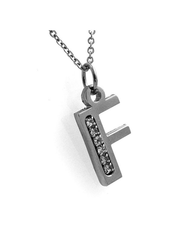 Collana con iniziale lettera f in acciaio