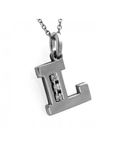 Collana con lettera iniziale l in acciaio