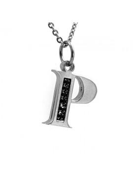 Collana con lettera iniziale p in acciaio