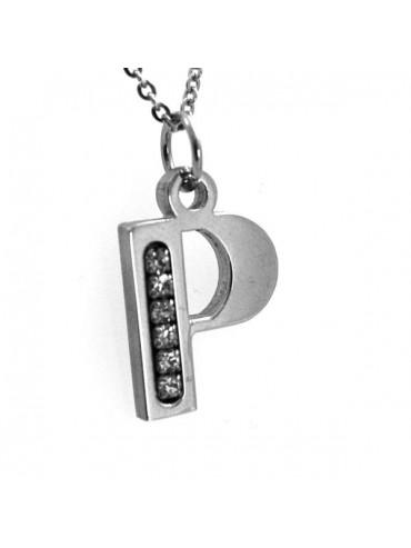 Collana con iniziale lettera p in acciaio