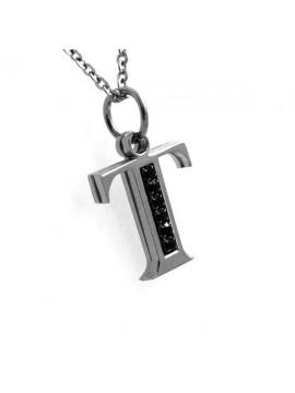 Collana con lettera iniziale t in acciaio
