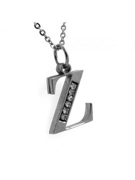 Collana con iniziale lettera z in acciaio