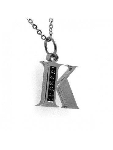 Collana con lettera iniziale k in acciaio