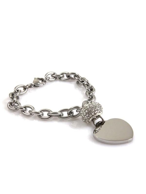 Bracciale donna in acciaio con cuore tipo tiffany